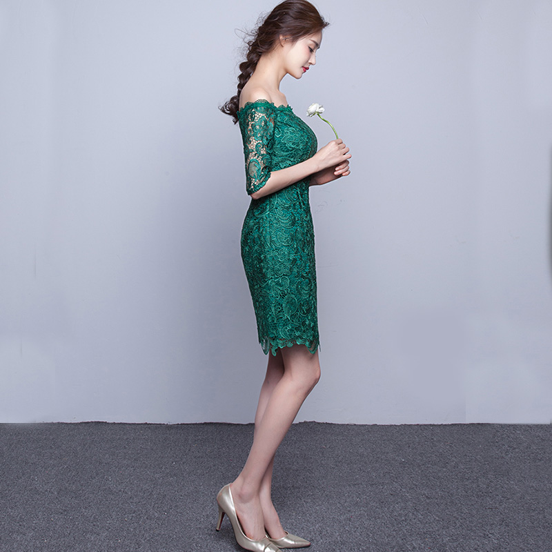 DongCMY WT2098 New 2018 short fashion elegant medium sleeves lace green color Party bandage Cocktail Dress 2