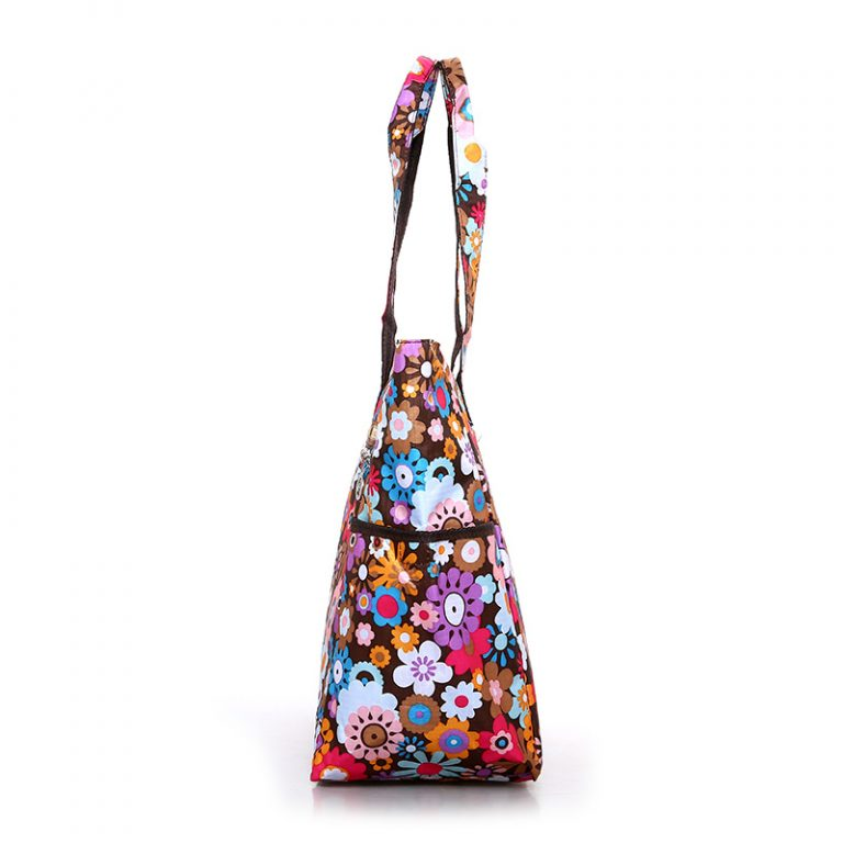 Floral Shopping Bag Waterproof Nylon Large Capacity Handbag Lightweight Rural style Leisure or Travel Bag Women 3