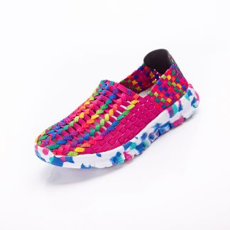 Women Shoes Summer Flat Female Loafers Women Casual Flats Woven Shoes Sneakers Slip On Colorful Shoe Mujer Plus Size ace